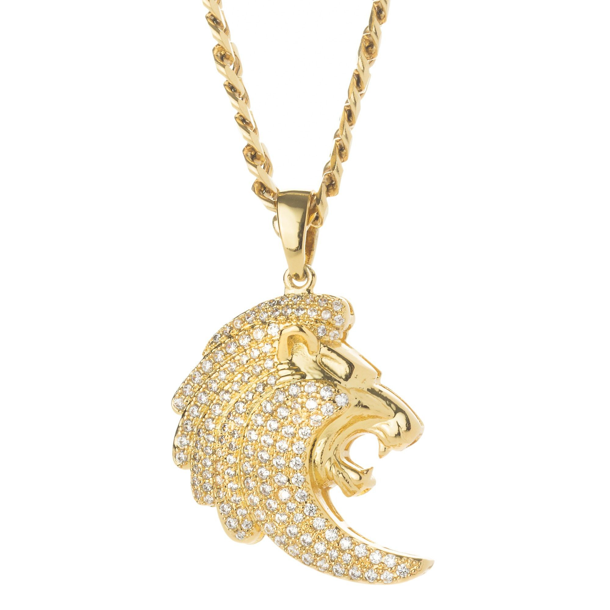 in gallery lyst jewelry necklace men metallic gucci head product normal for with pendant lion