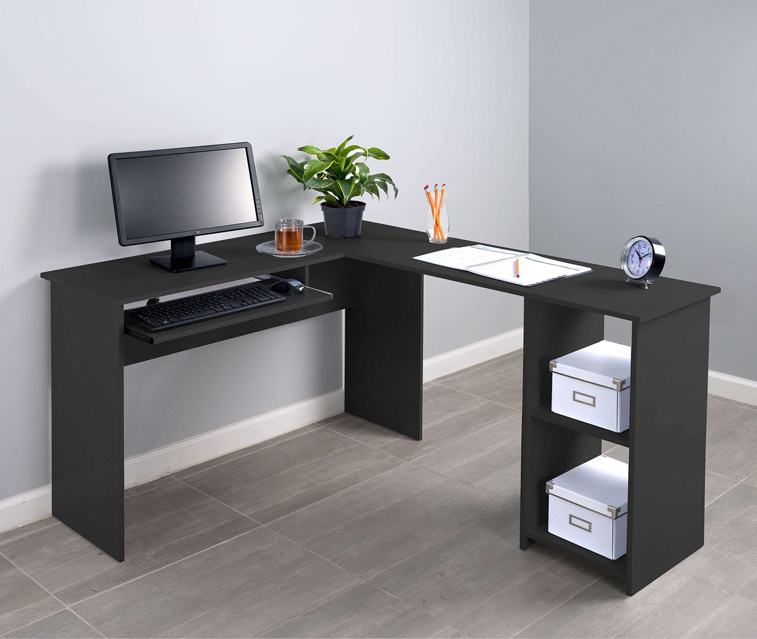 Fineboard Lshaped Office Corner Desk 2 Side Shelves Black Click Image For More Details It Is Amazon L Shaped Desk Desks For Small Spaces Corner Desk Office