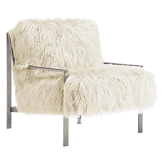 Miraculous Axel Fur Accent Chair Brushed Silver In 2019 Living Room Ibusinesslaw Wood Chair Design Ideas Ibusinesslaworg