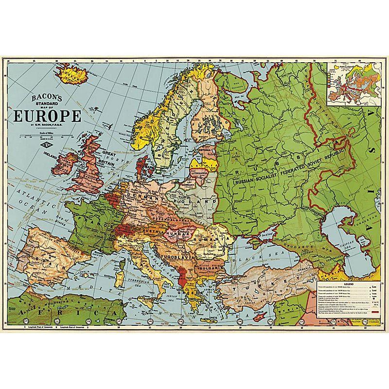 Affiche Carte de l'Europe. Poster, papier cadeau, une belle