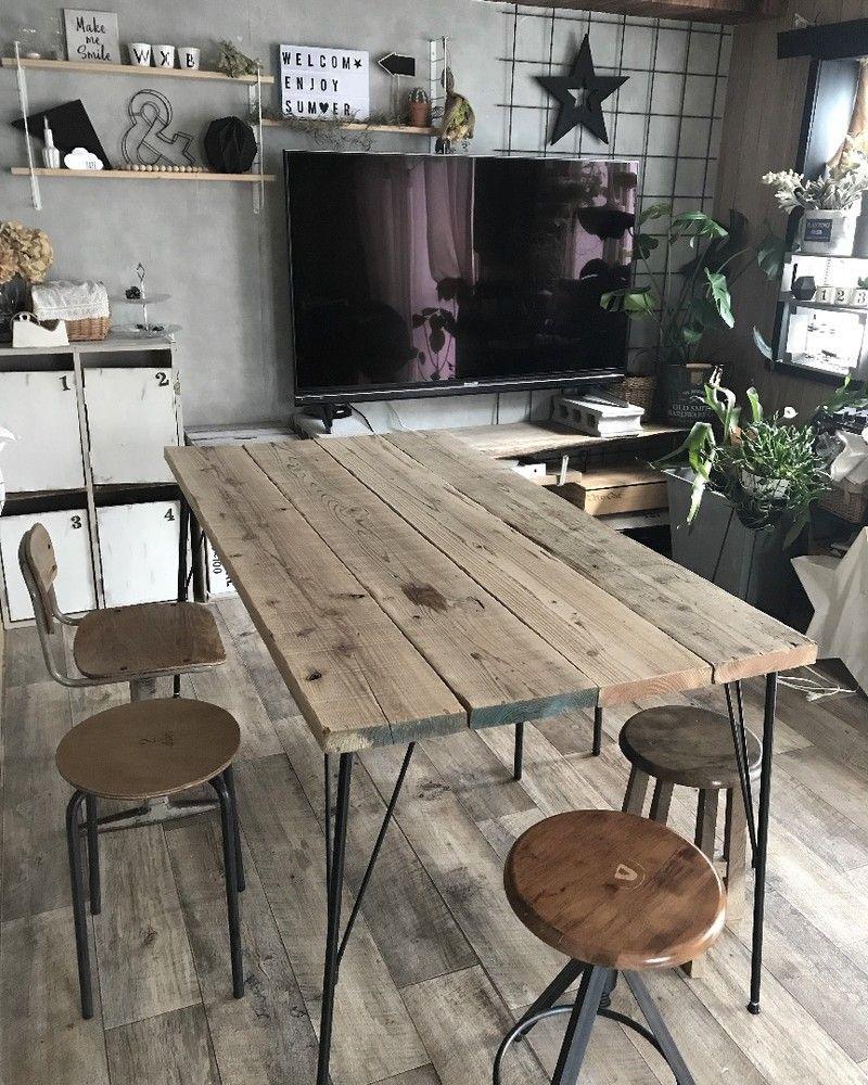 足場板でダイニングテーブルをdiy ダイニングテーブル Diy インテリア 家具 ダイニングテーブル Diy 作り方