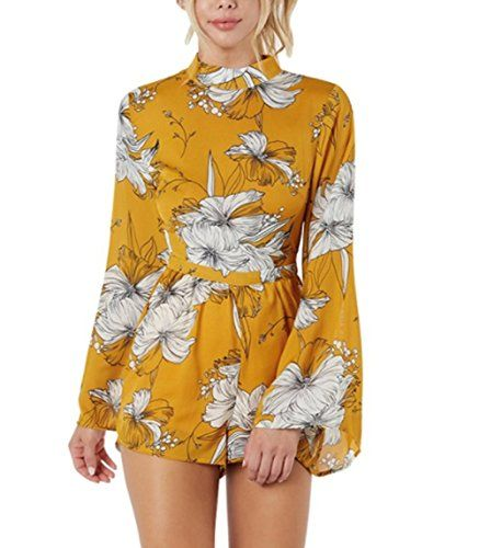 5dca42e762fd2c Lanzom Women Sexy Halter Neck Floral Print Backless Romper Summer Short  Beach Boho Jumpsuit
