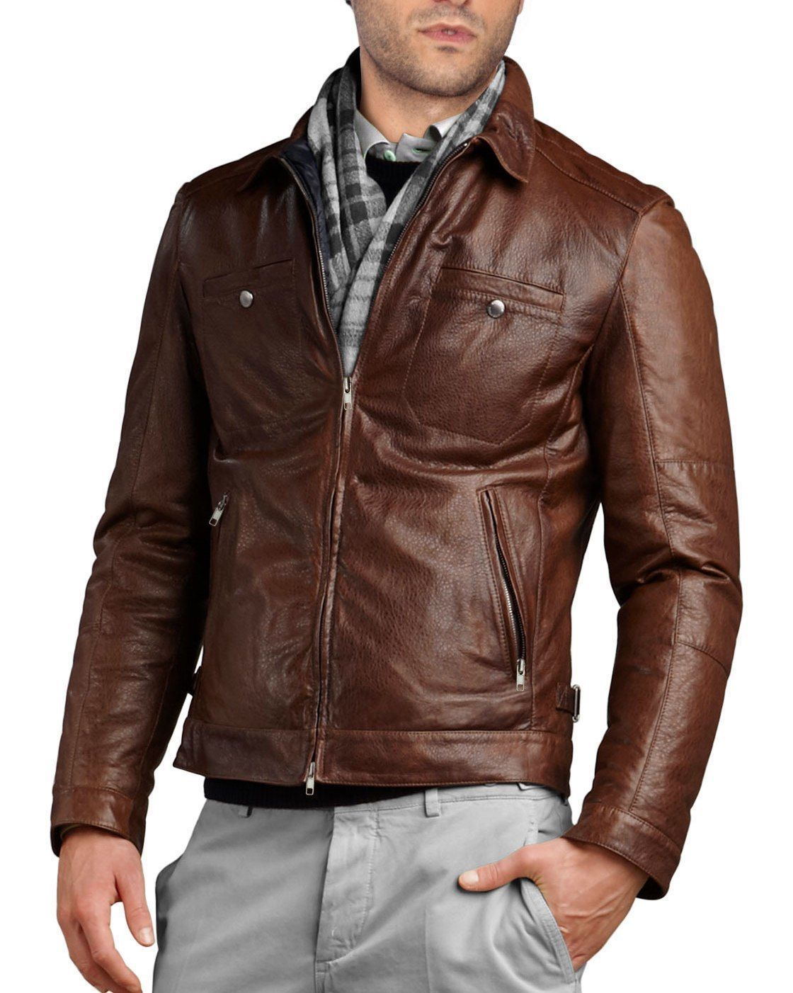 7d1b4a657 Men'S Dark Brown Color Genuine Lambskin Slim Fit Bomber Leather ...