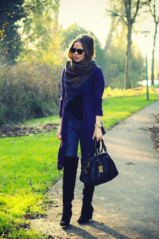 Fall style, over the knee boots, skinny jeans, long cardigan and chunky scarf. Adorable