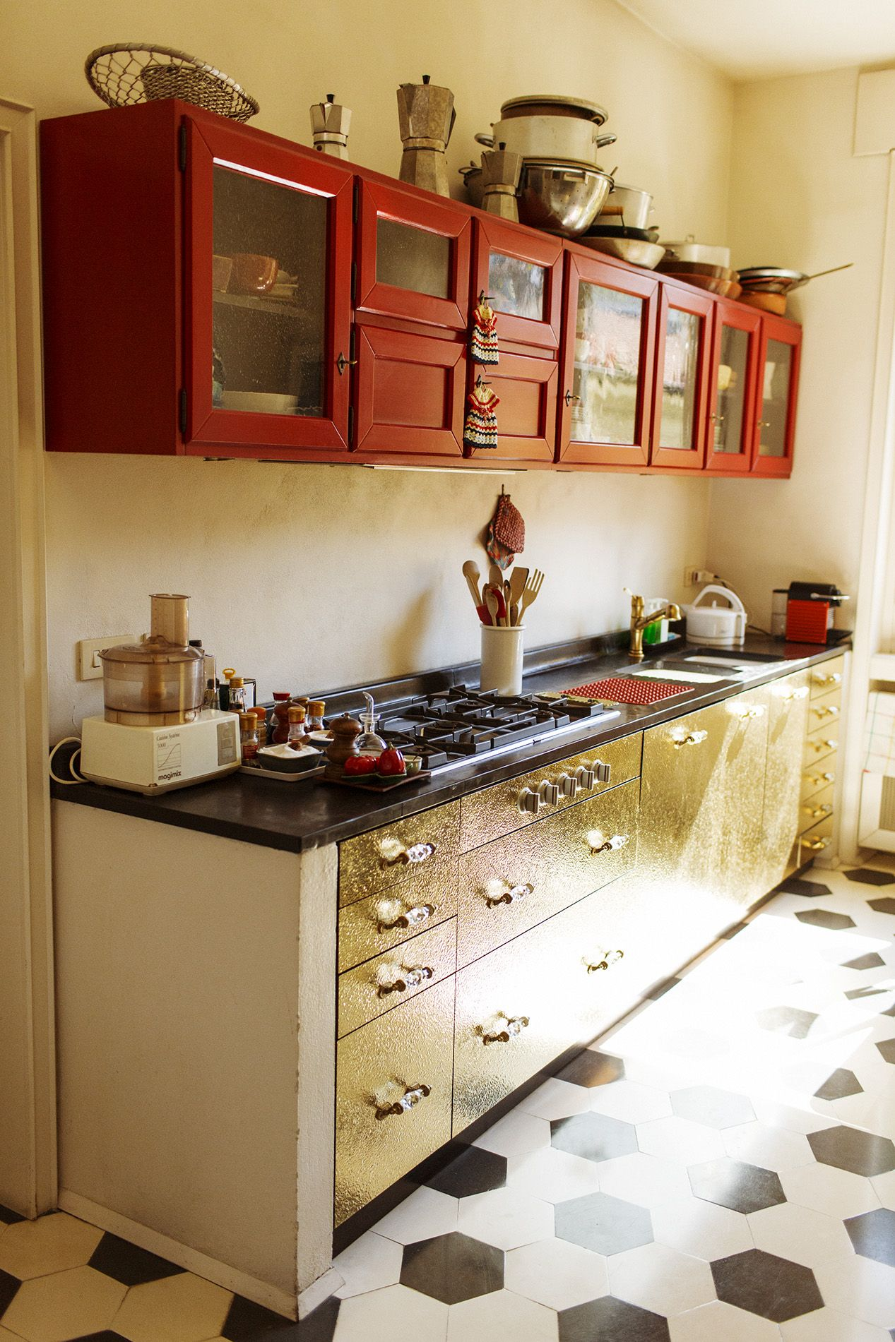 Red And Gold Kitchen Ldellfood Design Italian Kitchen Milan Via The Selby