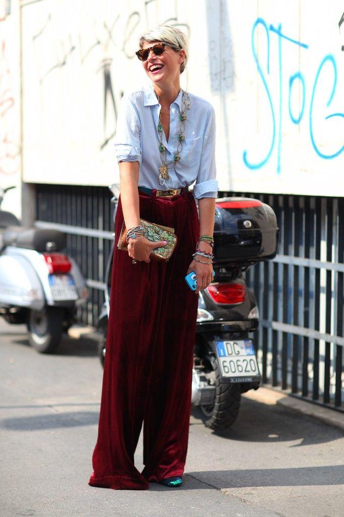 red velvet pants street style
