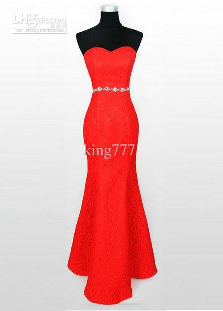 Wholesale Red strapless sweetheart neckline sheath lace satin zipper back evening dresses custom made, Free shipping, $85.09/Piece | DHgate Mobile