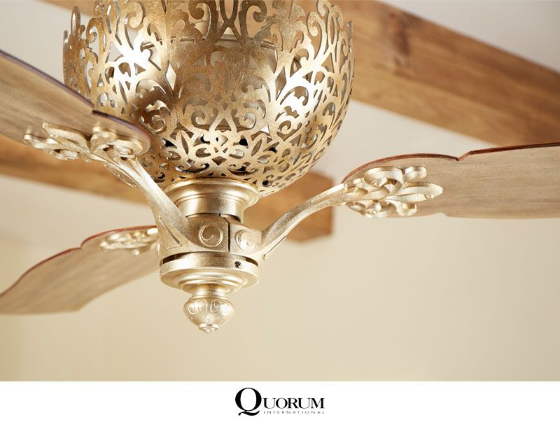 An Intricately Woven Filigree Of Vintage Gold Leaf Provides For A Stunning Fan Housing On The Quorum Le Monde Ceil Ceiling Fan Fan Light Ceiling Fan With Light