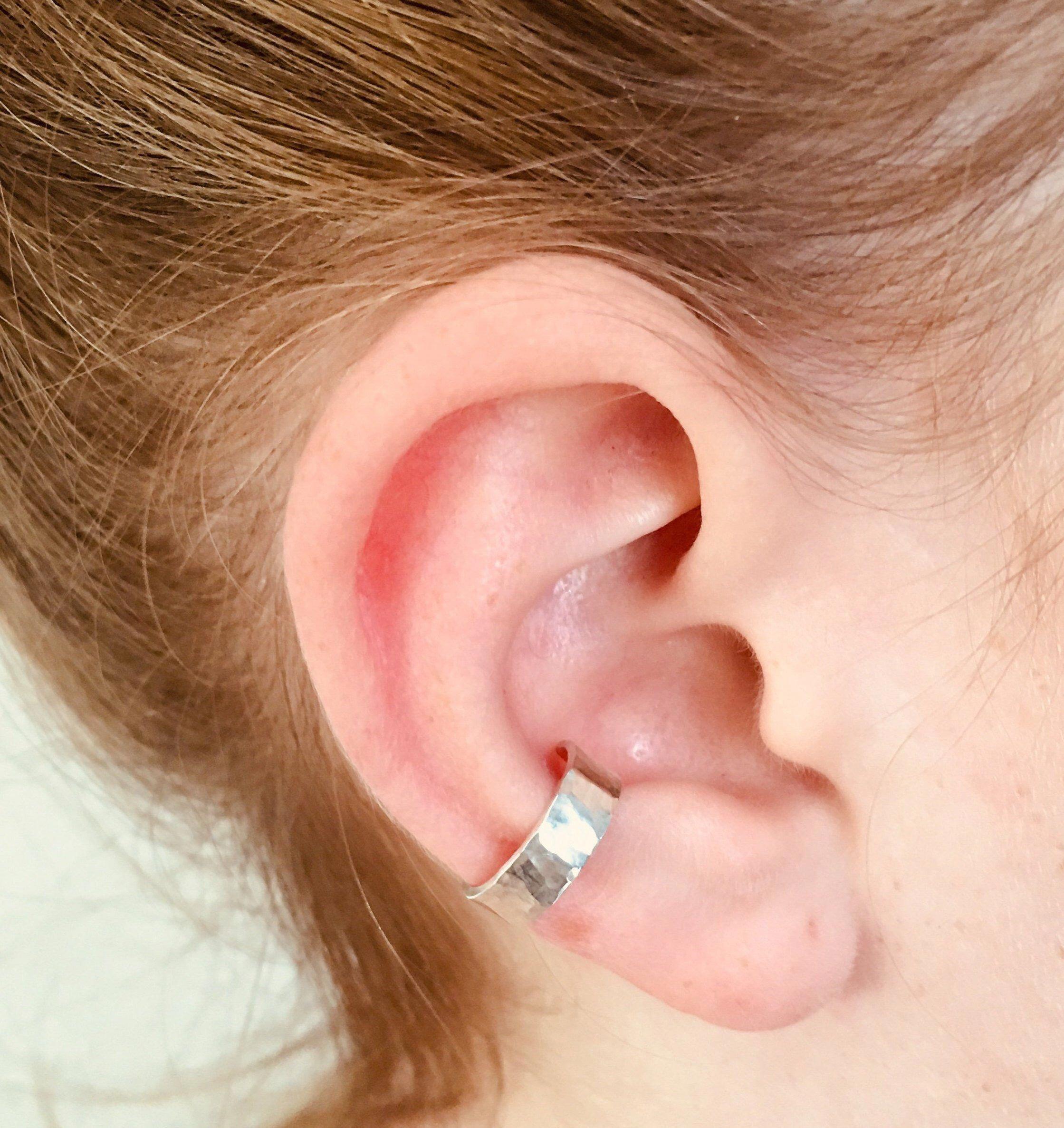 Non Pierced Fake Helix Piercing Ear Cuff Fake Piercings Thick Ear Cuff 14K Solid Yellow Gold Ear Cuff Chunky Gold Ear Cuff