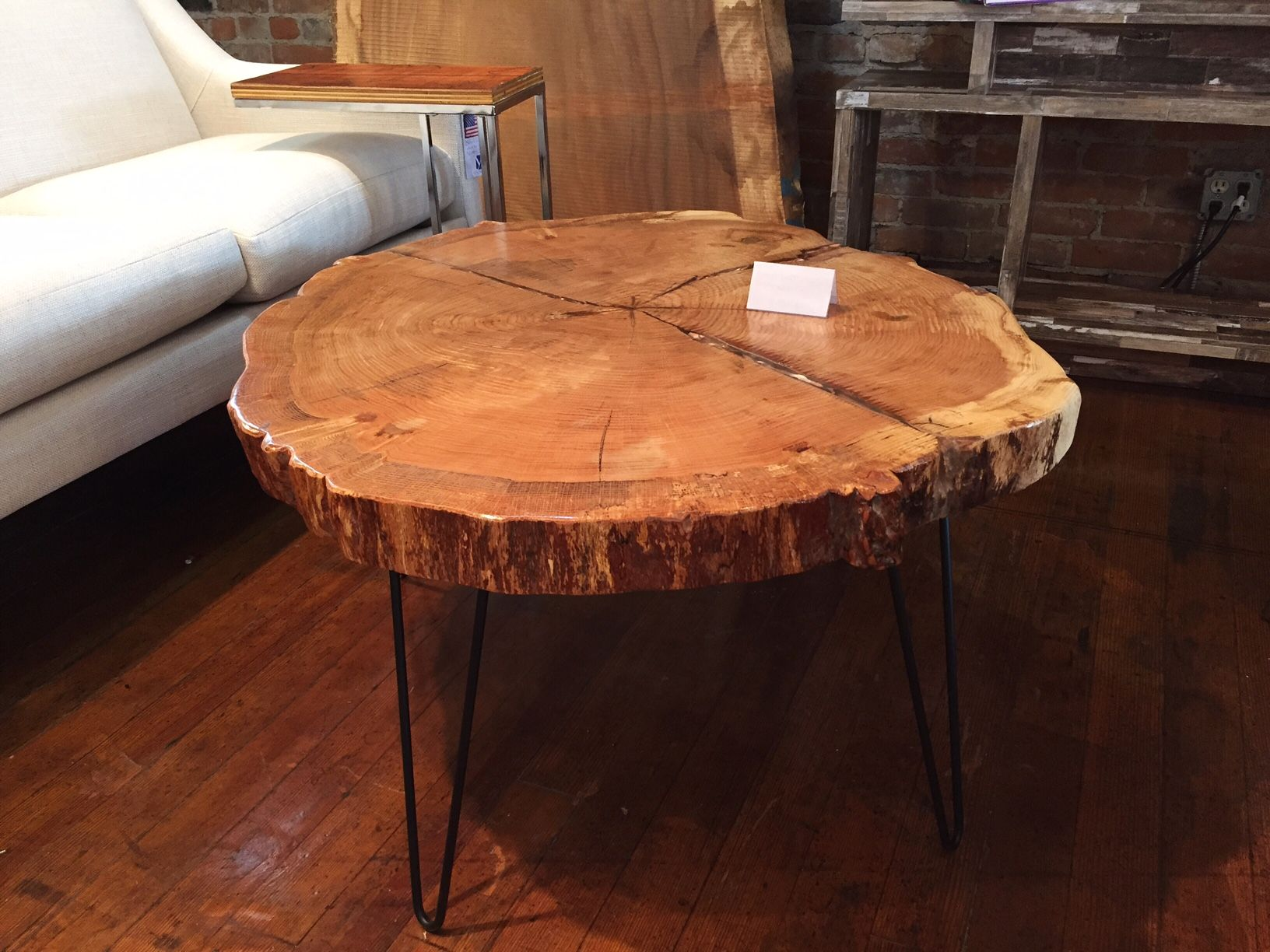 Finished Live Edge Red Oak Cookie Slab Coffee Table With Hairpin