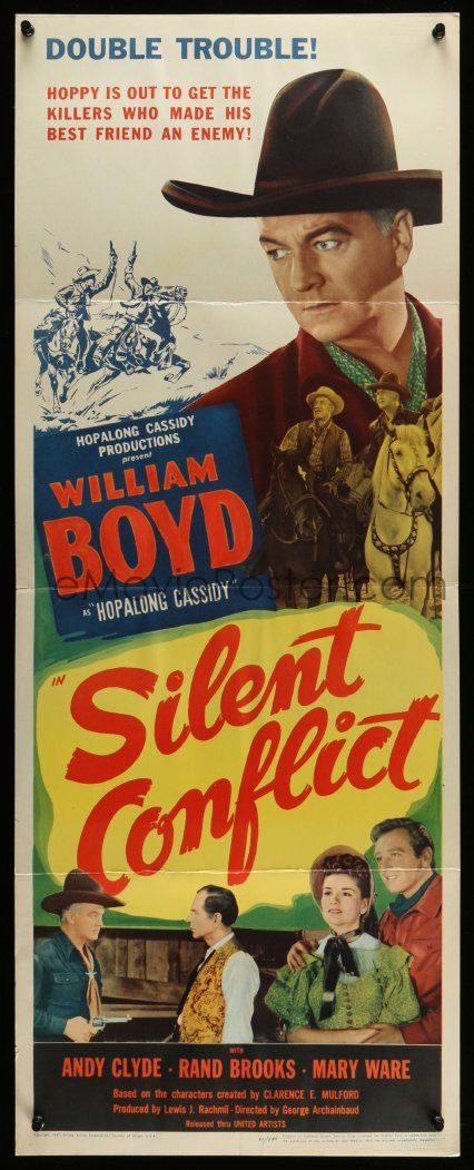 SILENT CONFLICT insert '48 great close up of William Boyd as Hopalong Cassidy with gun!