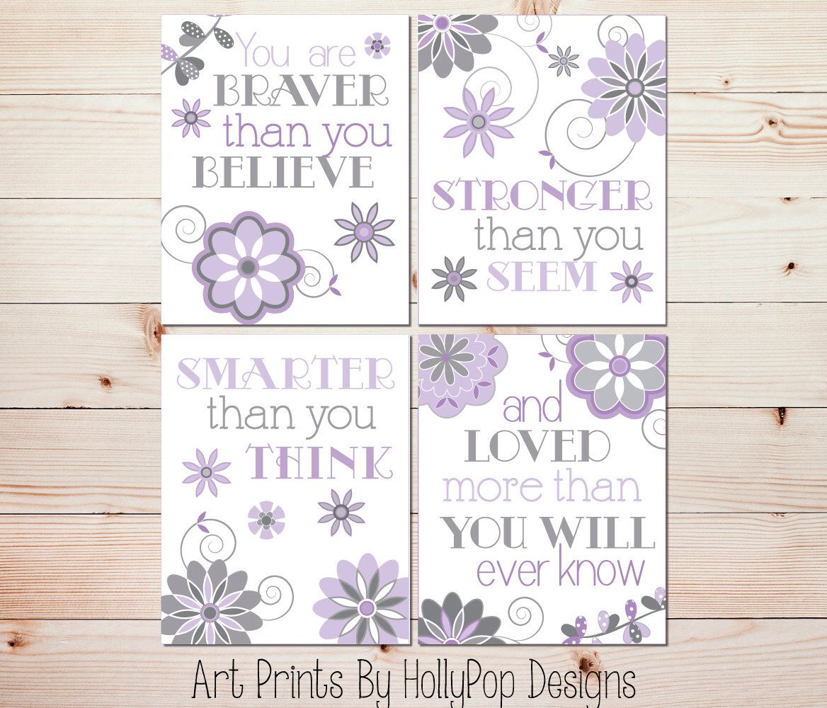 Baby girl nursery wall decor winnie the pooh quote quad print set baby girl nursery wall decor winnie the pooh quote quad print set you are braver than amipublicfo Images