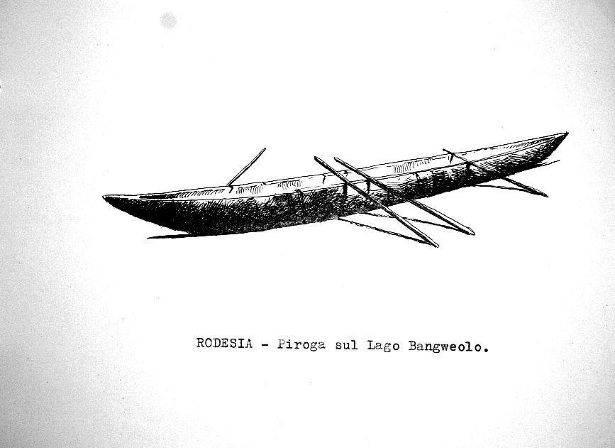 Rodesia - piroga sul Lago Bangweolo
