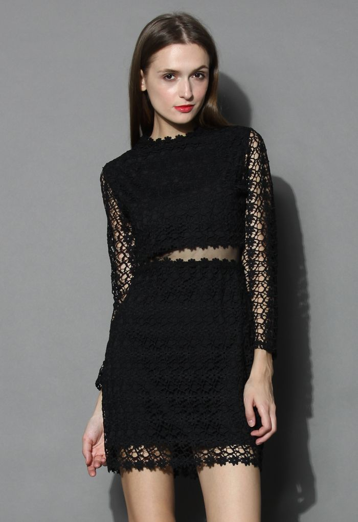 Little Daisy Crochet Shift Dress in Black - Buyer's Pick - Retro, Indie and Unique Fashion