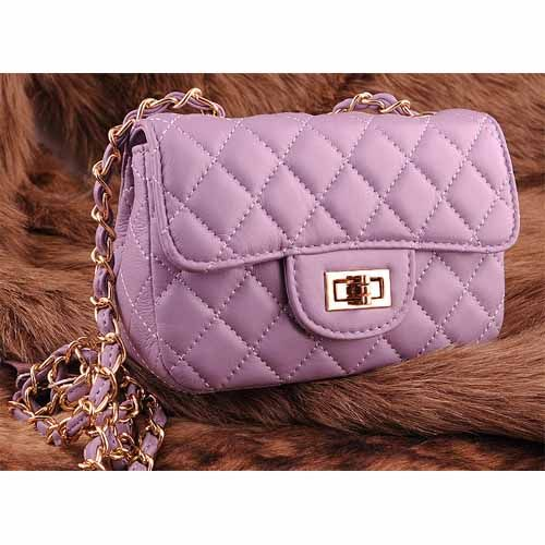 Womens purple leather clutch evening bag