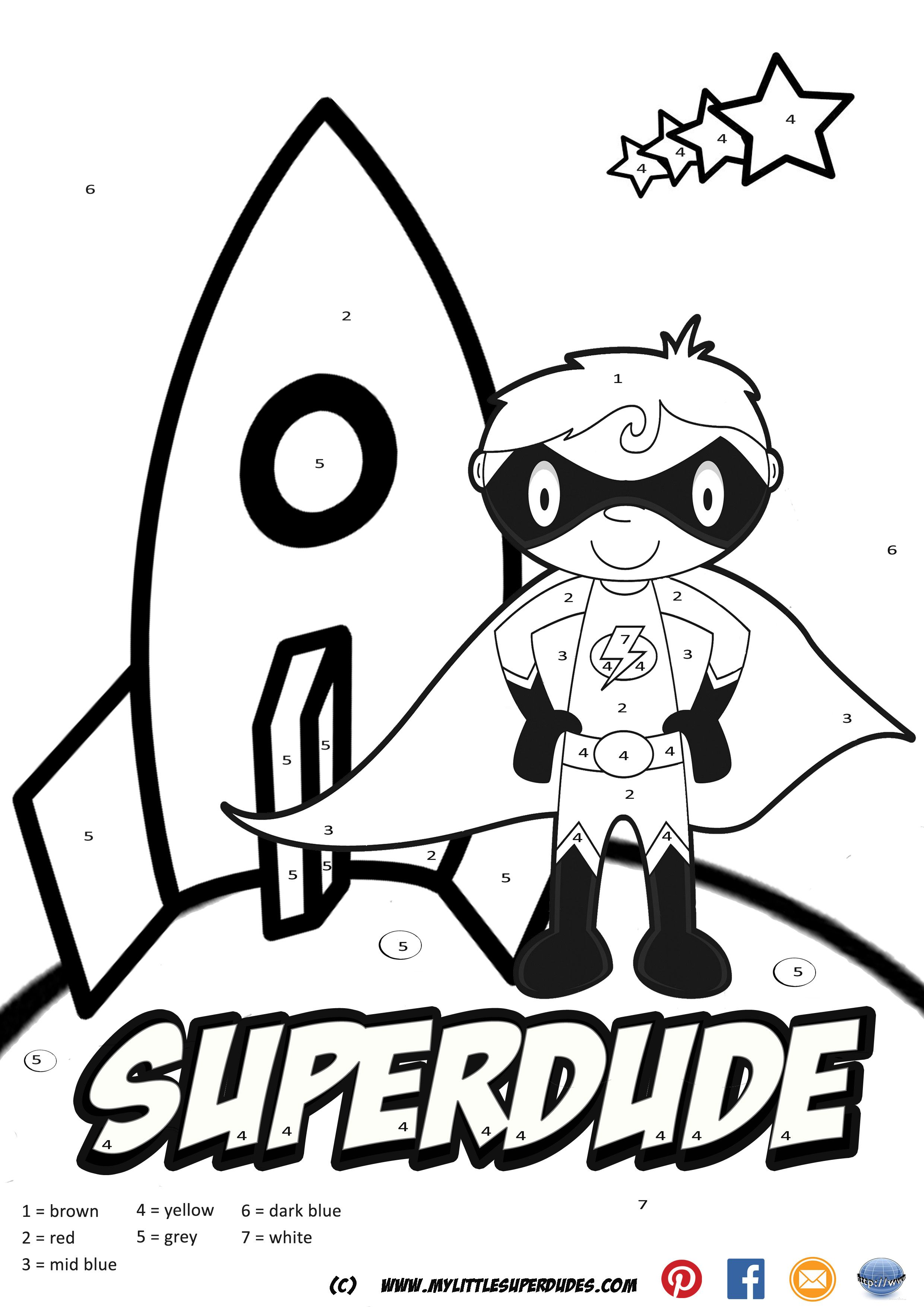 Superdude Color By Numbers. Hand created color by numbers