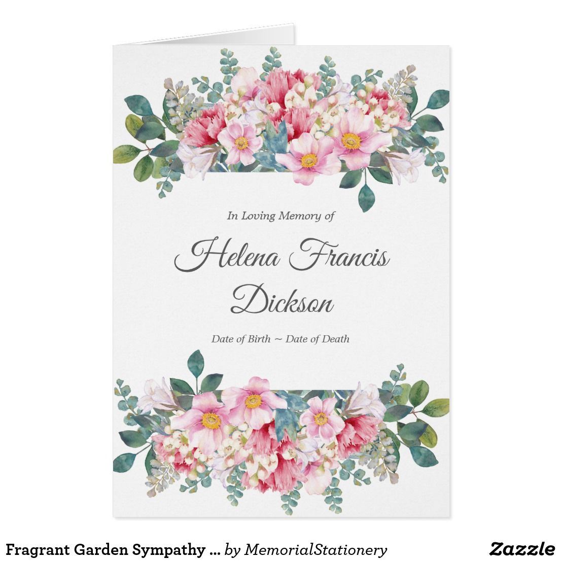 Funeral Thank You Cards Fragrant Garden 1 Zazzle Com With