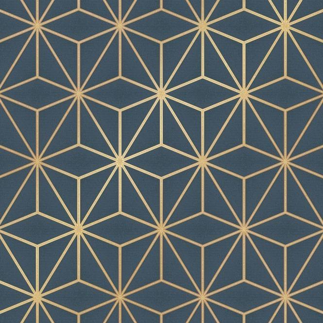 I Love Wallpaper Astral Metallic Wallpaper Navy Blue Gold images