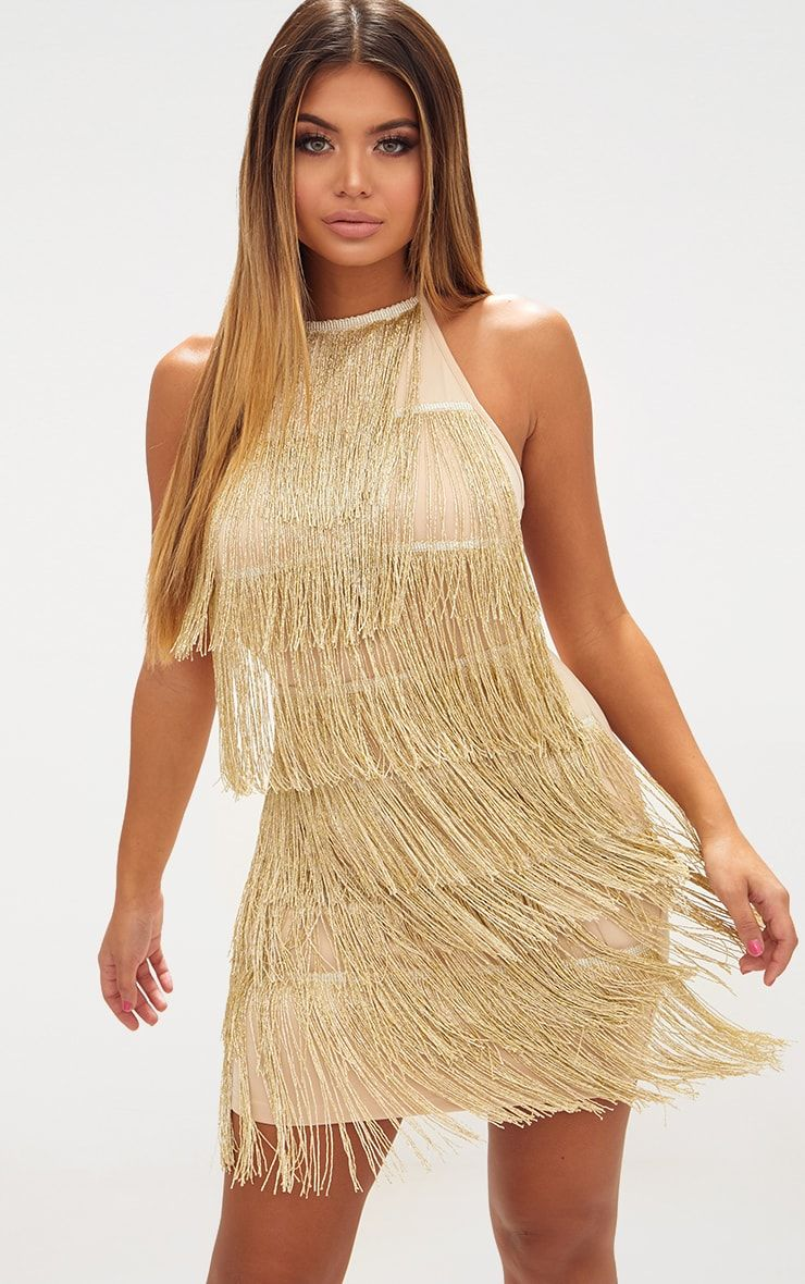 bea82542 Gold Tassel Detail Halterneck Bodycon Dress | Special occasions in ...