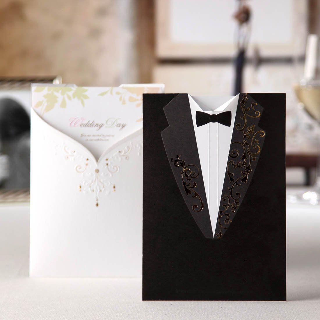 Partecipazioni Matrimonio Amazon.Wishmade 50x Biglietti Di Inviti Per Matrimonio Kit Bianco E Nero