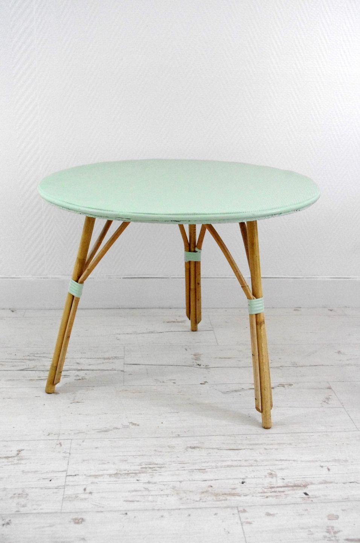 Table Basse Retro Vert D Eau Et Osier Meubles Et Rangements Par