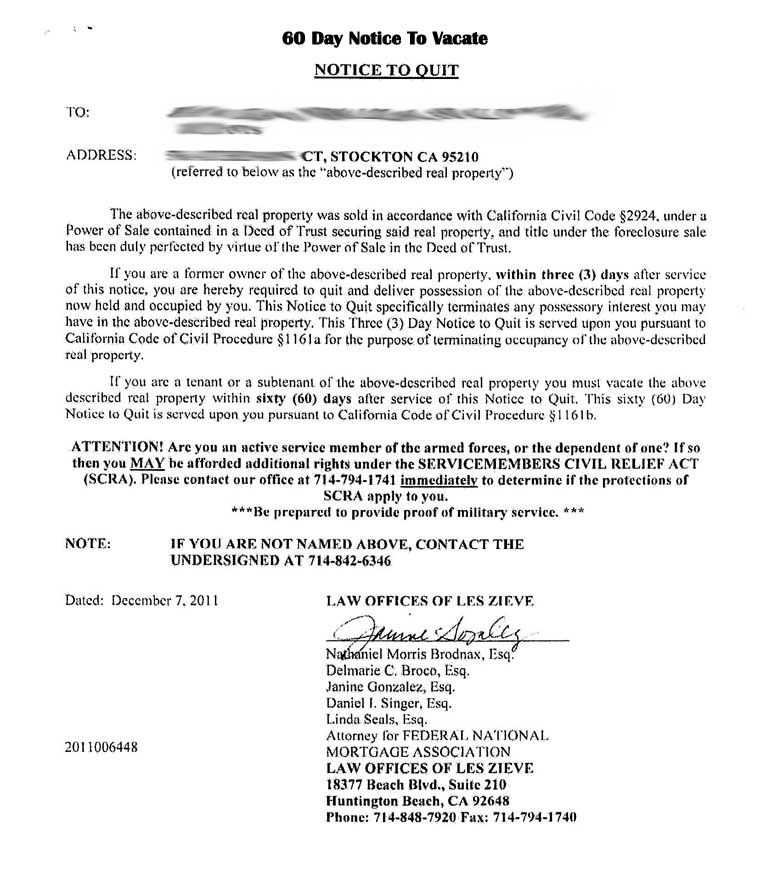 Printable Sample Tenant  Day Notice To Vacate Form  Real Estate