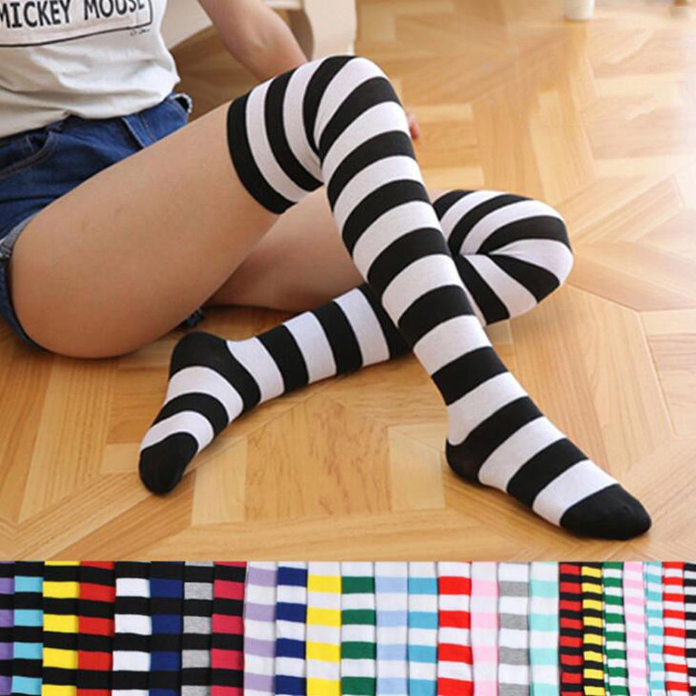 2b2e70f6b Girl Women Cotton Sock Long Thigh High Striped Over the Knee Slim Leg  Stockings  fashion  clothing  shoes  accessories  womensclothing   hosierysocks  ad ...