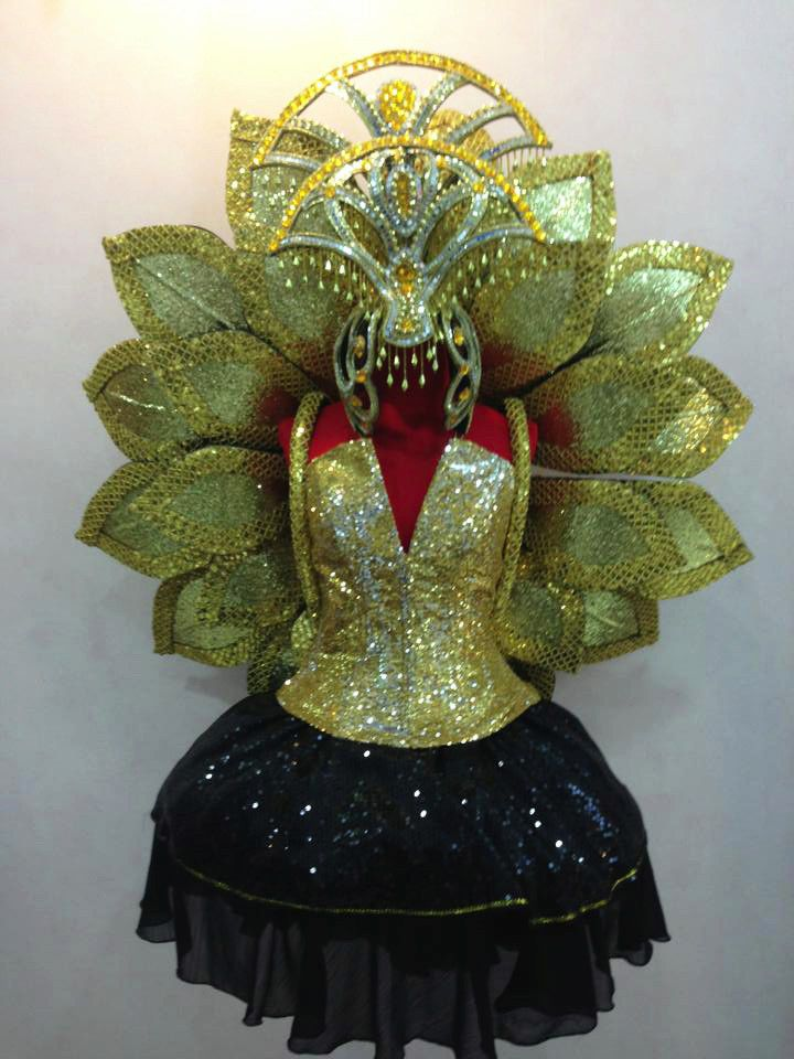 Da Neena B040c Show Vegas Gold Lotus Magnolia Flower Headdress Wings