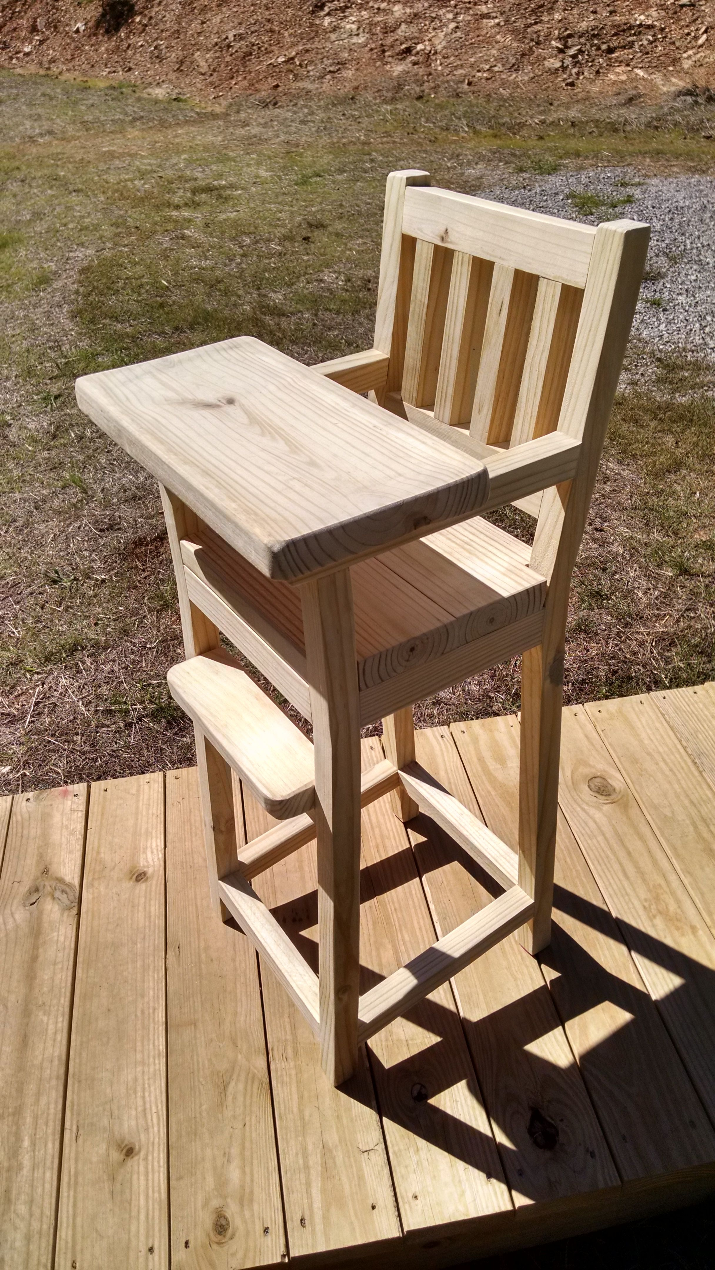 Wooden Hand Made High Chair Rustic Farm Style Furniture Picnic