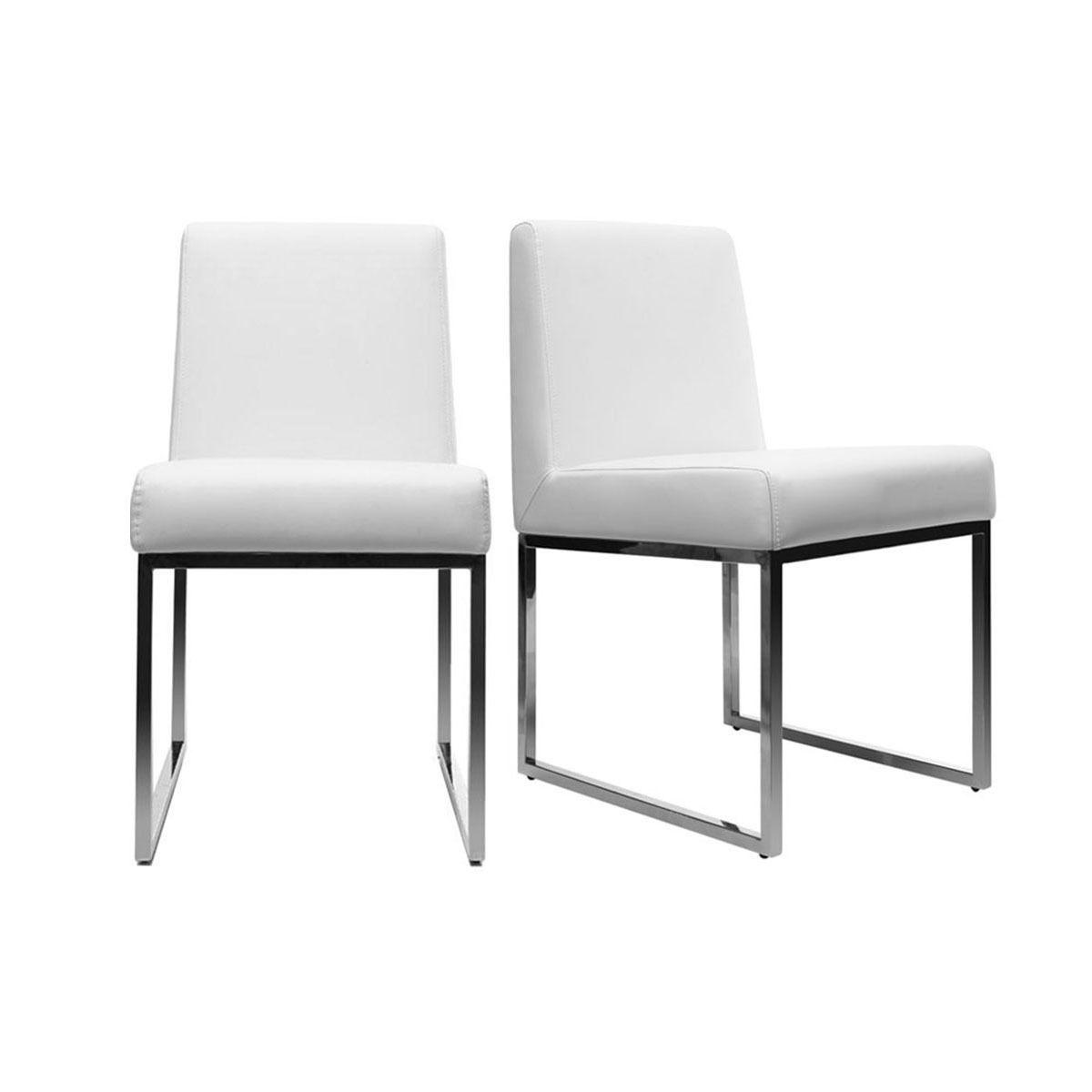 Lot De 2 Chaises Design Polyurethane Blanc Et Acier Chrome Junia Chaise Design Table Basse Chaise Salle A Manger