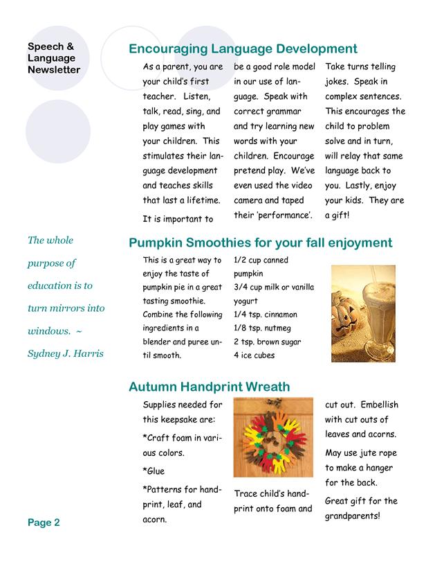 SLP newsletter template. | Parent/Classroom Handouts ...