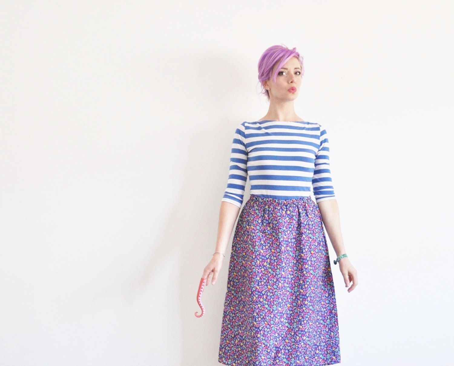 purple TINY THINGS print skirt . hearts stars moons ka by DOTTO