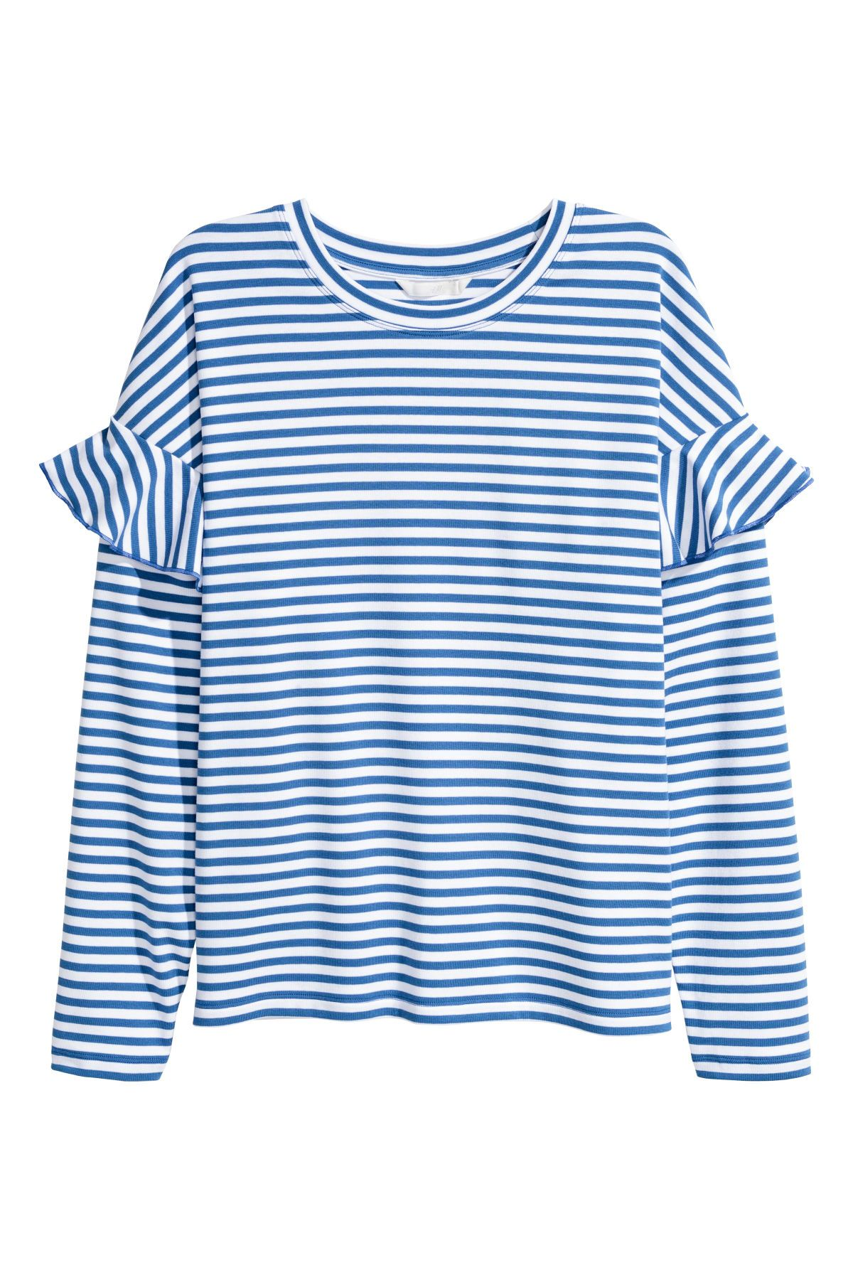 08a09a329118 Blue white striped. Soft jersey top with long sleeves and dropped shoulders  with a ruffle.