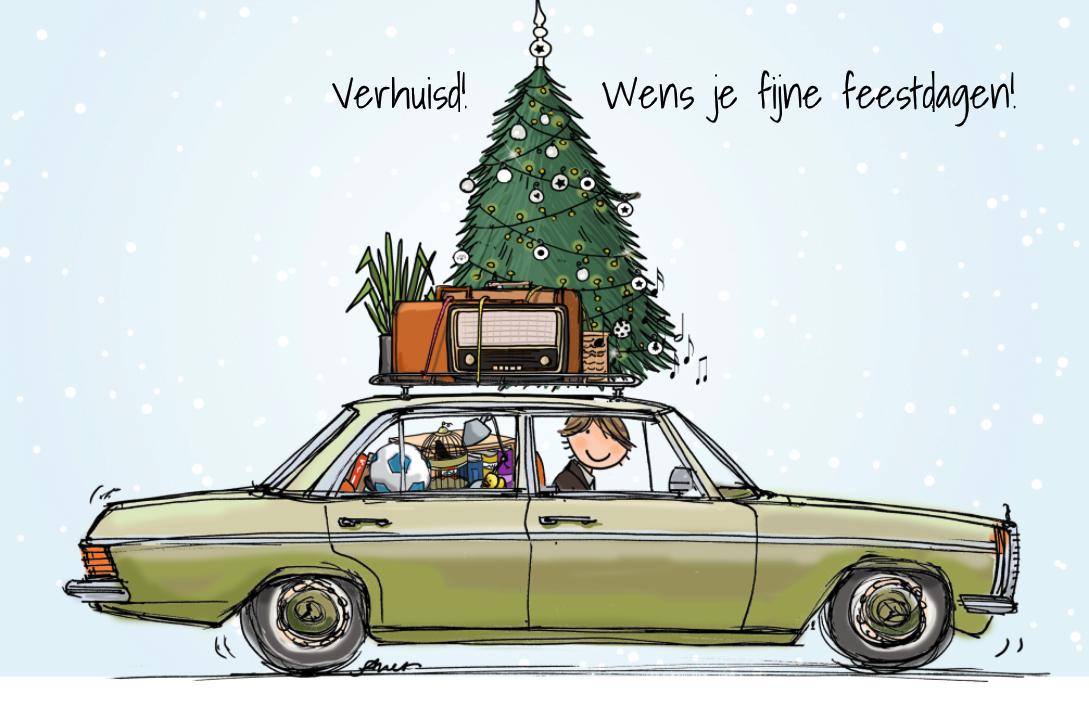 Vrolijke Kerst Verhuiskaart Maken Met Mercedes Kerst Verhuis Kaart Kerst Kaarten