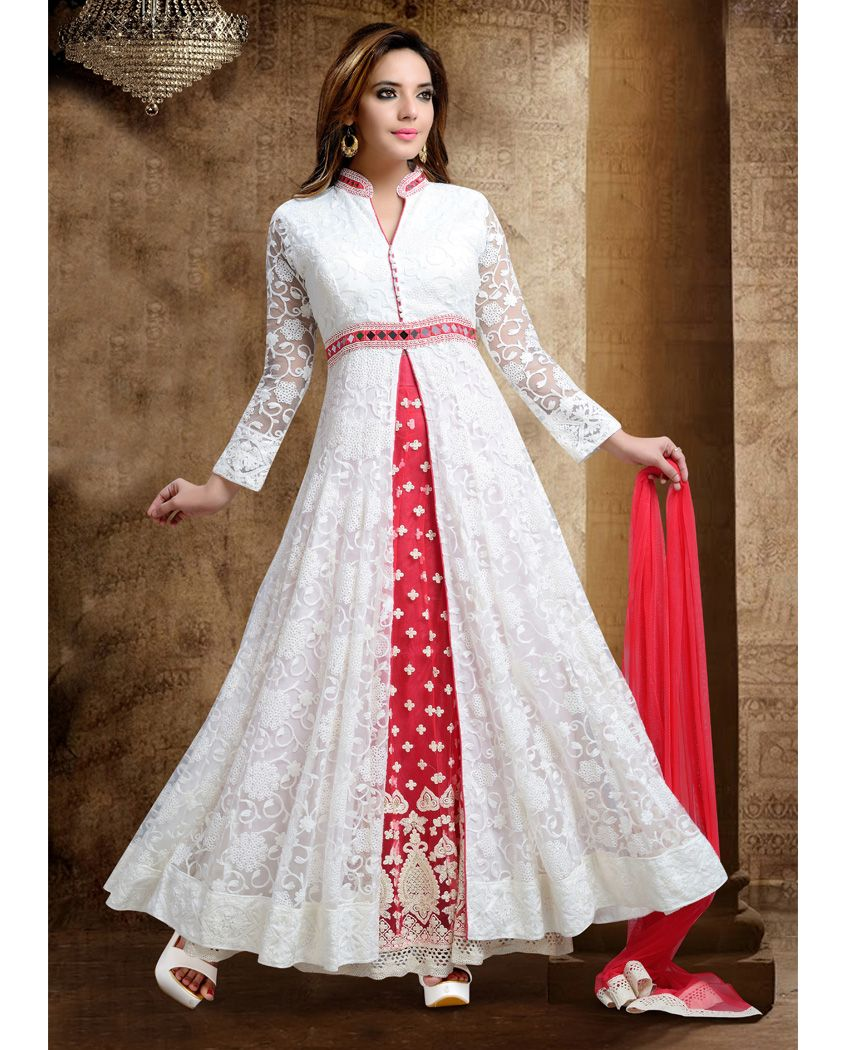 a703f9f310f White and red net front slit anarkali suit 2. Heavy embroidery work with  front slit open 3. Comes with a matching net bottom and net dupatta 4.