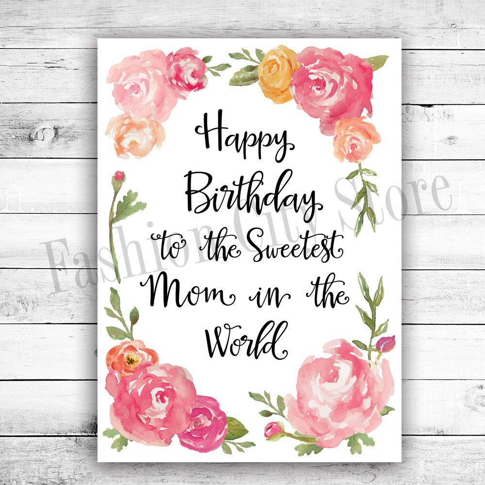 Happy Birthday Card For Mom Watercolor Peonies Printable Diy