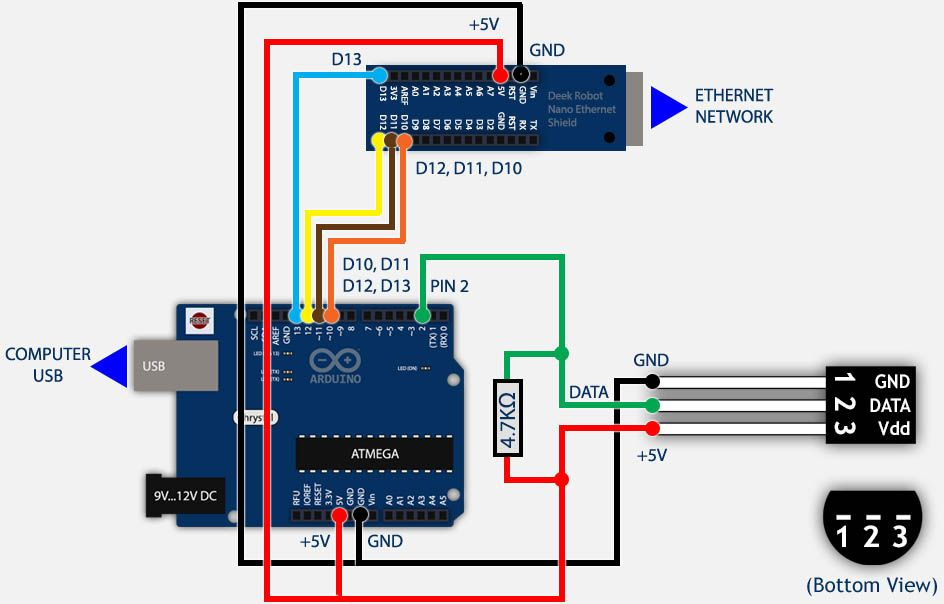 Arduino, ENC28j60 and DS18B20 wiring example (data Push) in ... on