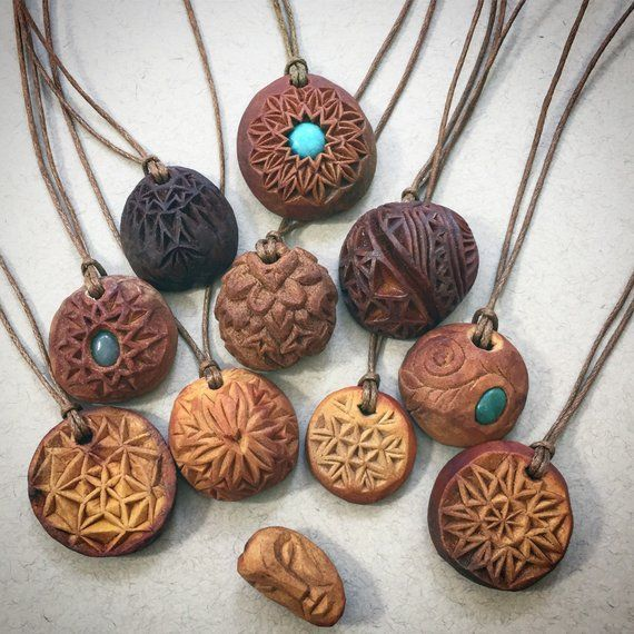 Natural jewelry. Hand carved avocado stone necklace. Heart.