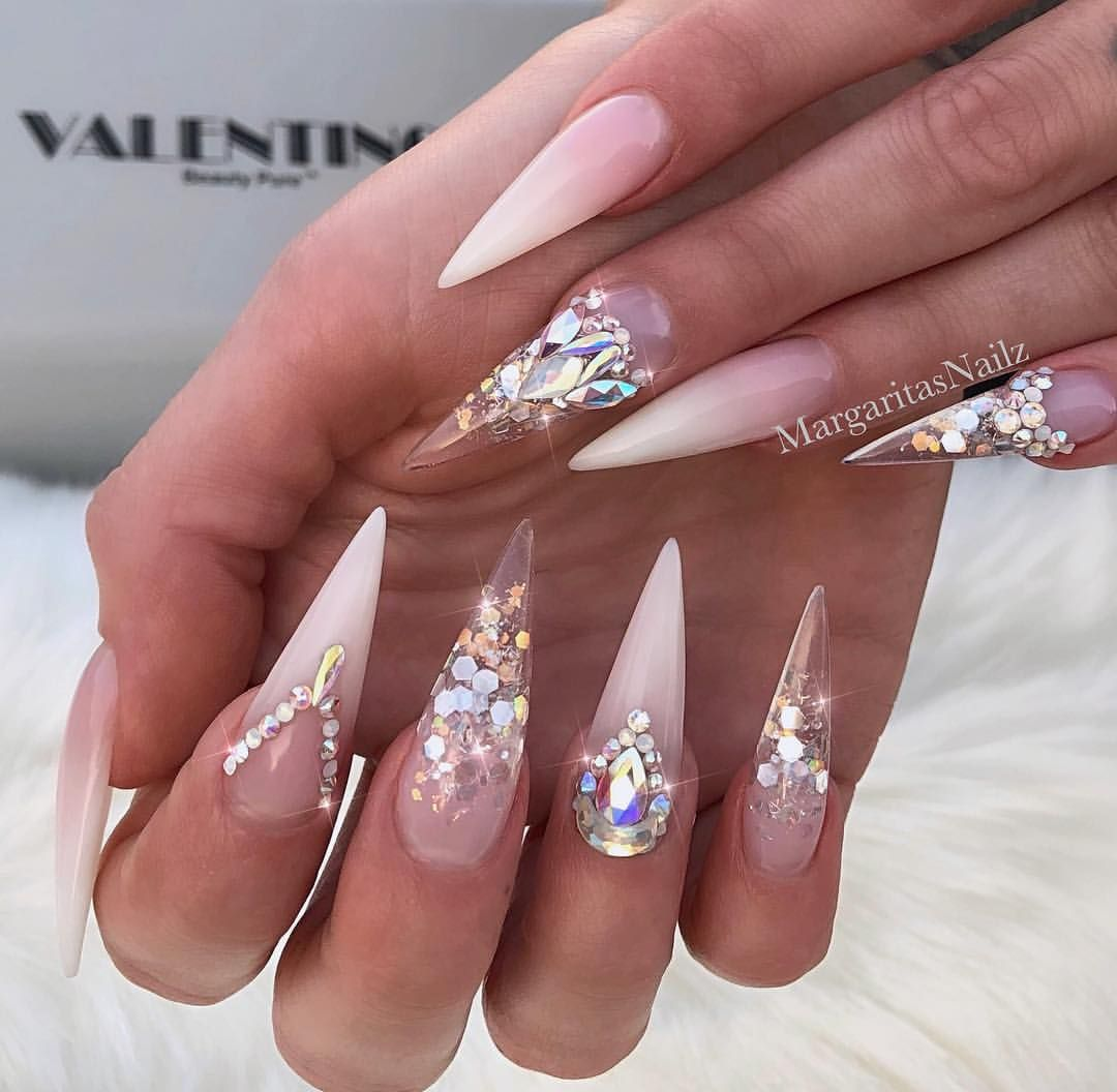 White Clear Ombre Glitter Stiletto Nails Bling Nail Designs By Margaritasnailz Glitterombrenai Baby Boomers Nails Stiletto Nails Glitter Clear Glitter Nails