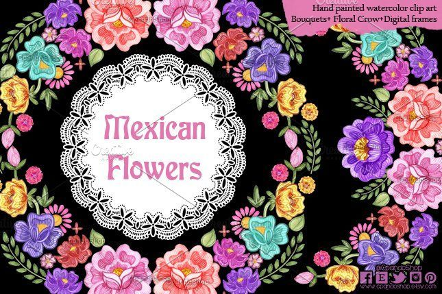 Mexican Flowers watercolor clip art Flowers#watercolor#Mexican #affiliate #clipartfreebies Mexican Flowers watercolor clip art Flowers#watercolor#Mexican #affiliate #clipartfreebies