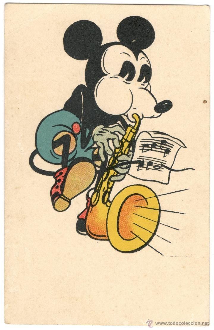 Postal De Mickey Mouse Tocando El Saxo Anos 30 Mit Genehmigung Von Walter E Disney Ilustracion De Mickey Mouse Fotos De Mickey Mouse Arte De Mickey Mouse