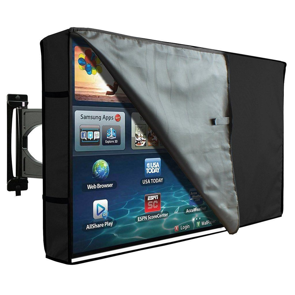 Tv cover outdoor waterproof protector with clear front black