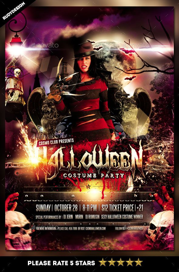 Halloween Costume Party Flyer Template Design, perfect for your