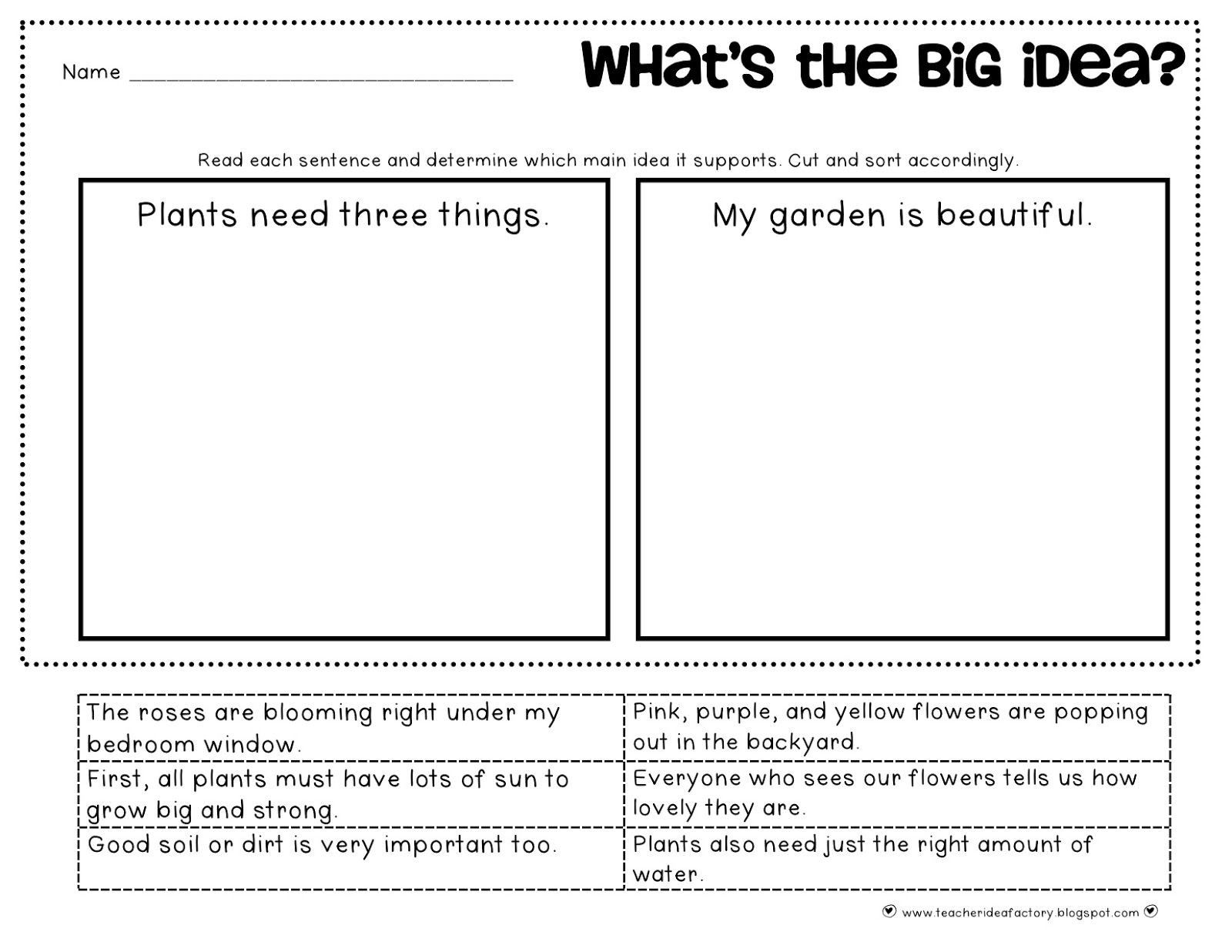 Periodic Main Idea Worksheets