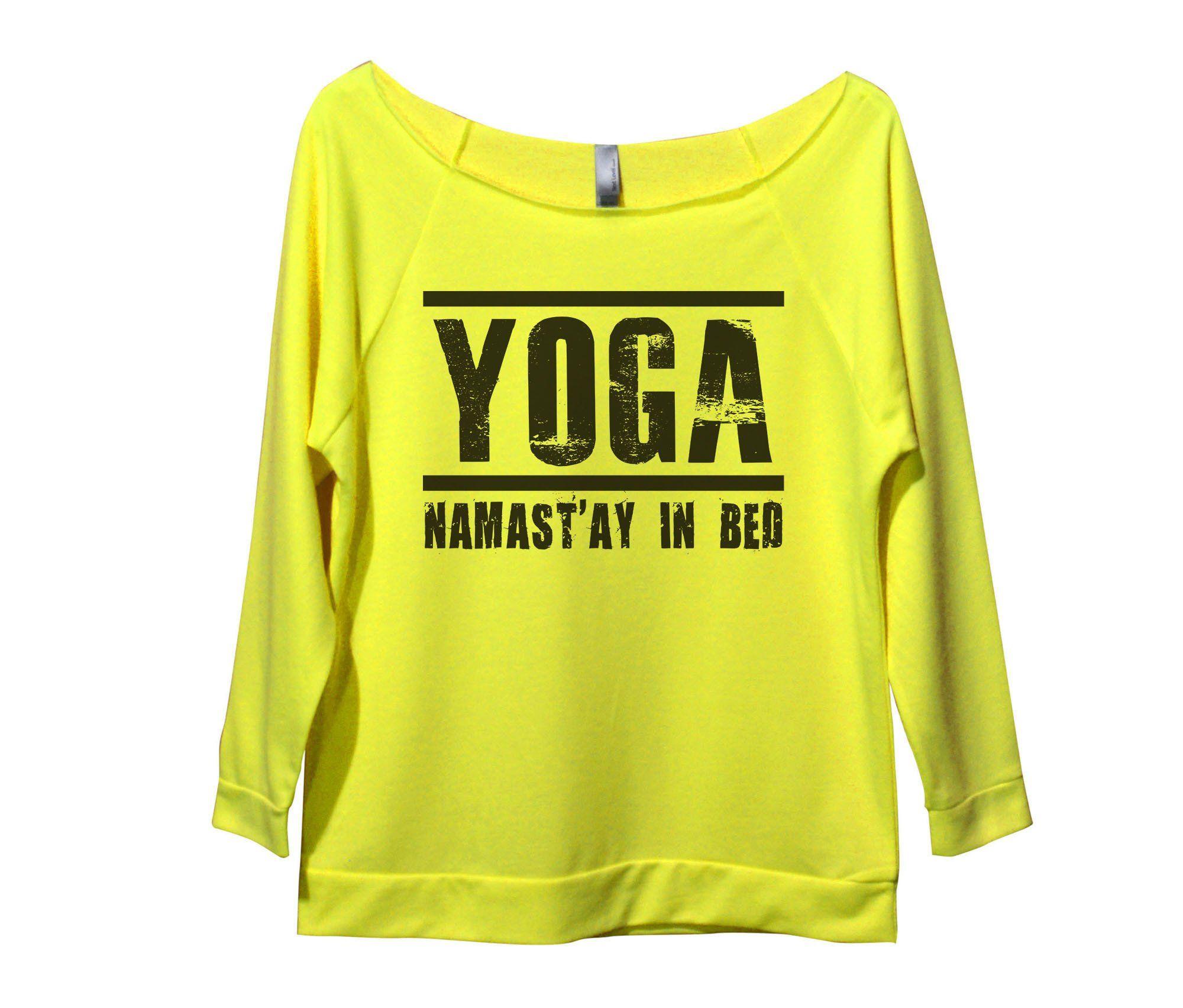 Yoga namastuay in bed womens long sleeve vintage raw edge shirt
