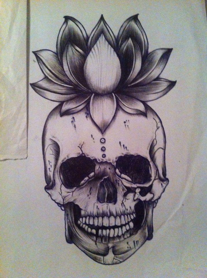 Lotus Flower Skull Tattoo Love