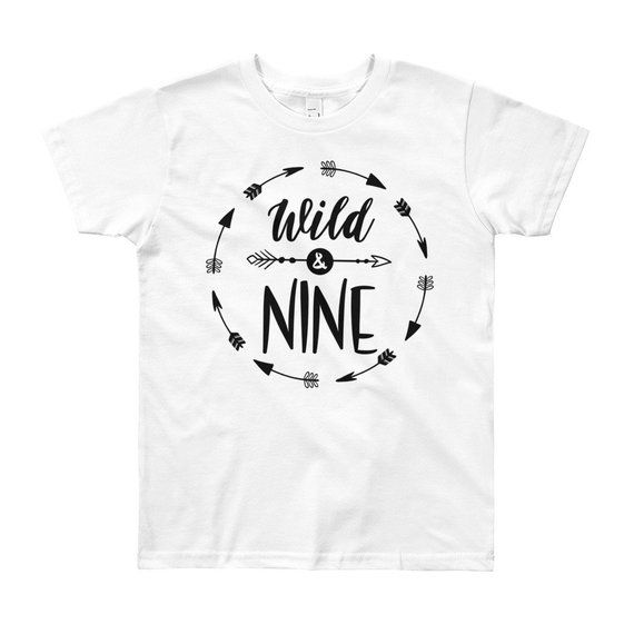 Wild And Nine 9th Birthday Shirt Boy Ninth Outfit Year Old Gift Trendy Party