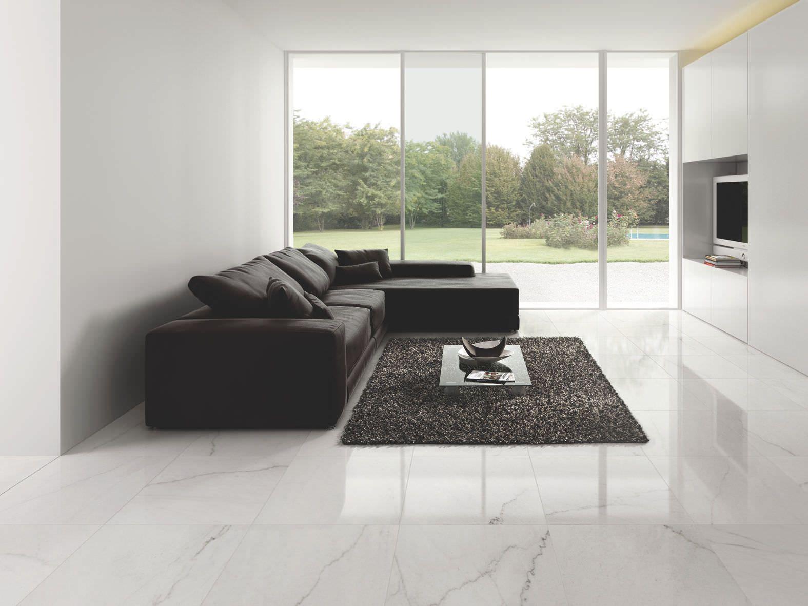 Interior Marble S Grout Lines In Porcelain Tiles Flooring Luxurious Black Rug Comfy Black Sofa Living Room Tiles Living Room Vinyl Flooring Living Room Vinyl