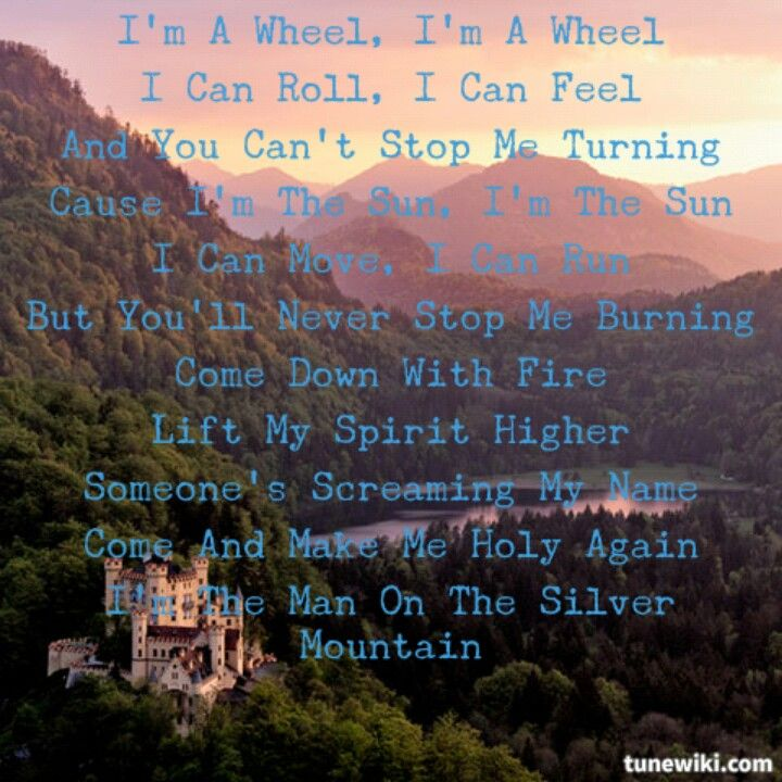 Lyric crystal mountain lyrics : Rainbow...man on the silver mountain | Quotes | Pinterest ...