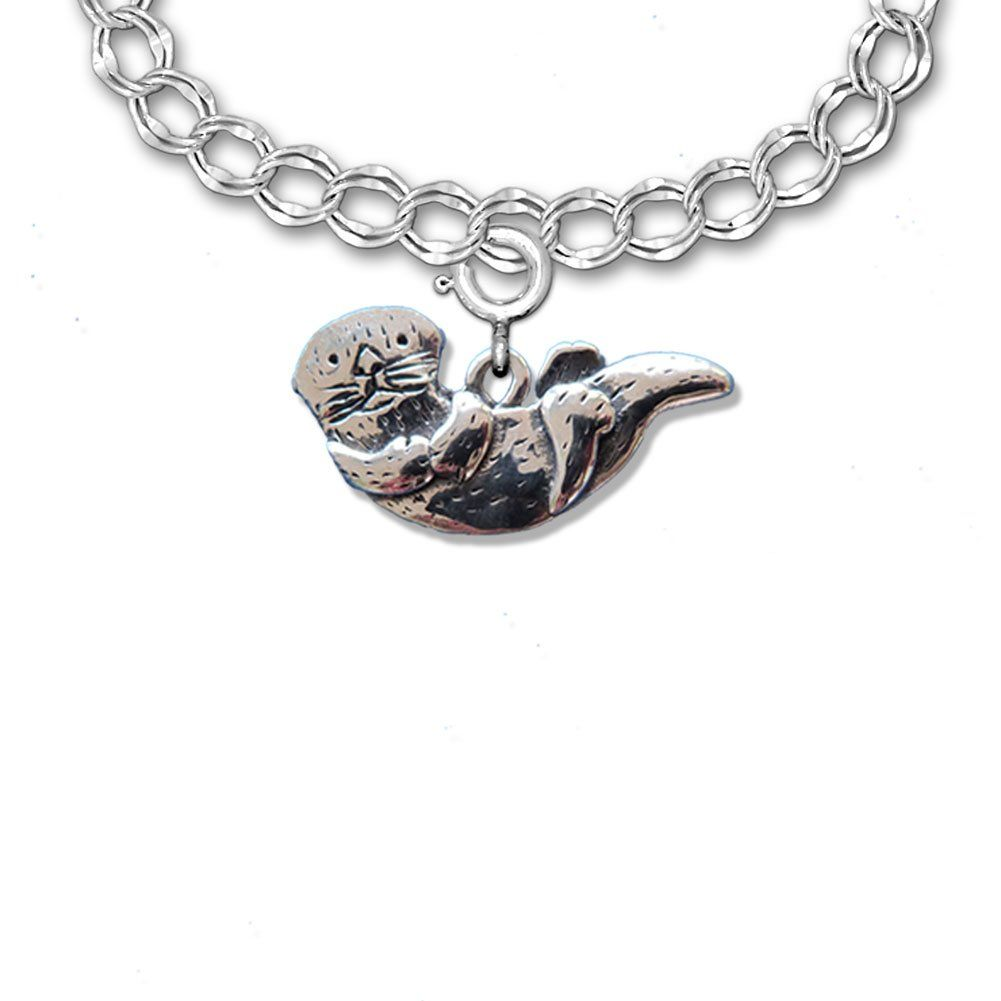 Sterling Silver Charm Bracelet Parallel Curb Style by The Magic Zoo
